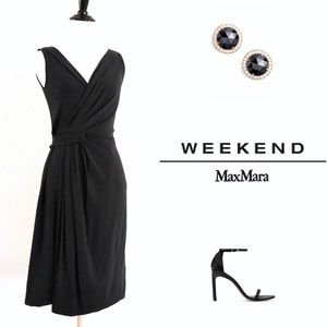 Weekend MaxMara Black Gathered Draped Dress